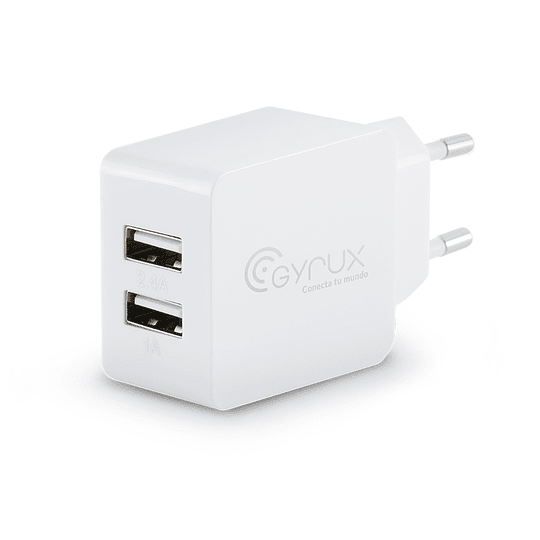 Cargador pared dual USB 1A 2.4A Blanco - Image 1