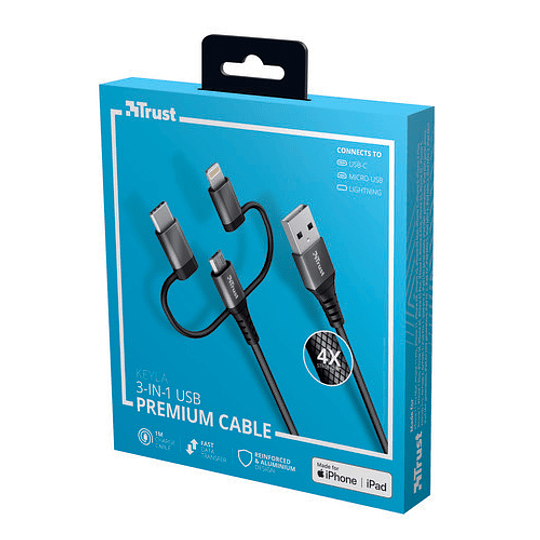 Cable KEYLA STRONG 3-IN-1 USB 1M - Image 4