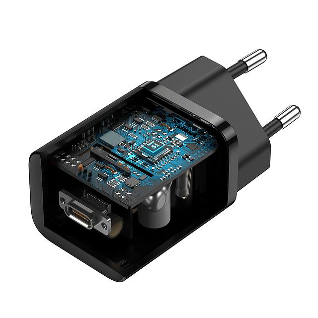 Cargador Super Si Carga Rápida 25W Negro + Cable Tipo C a Tipo C