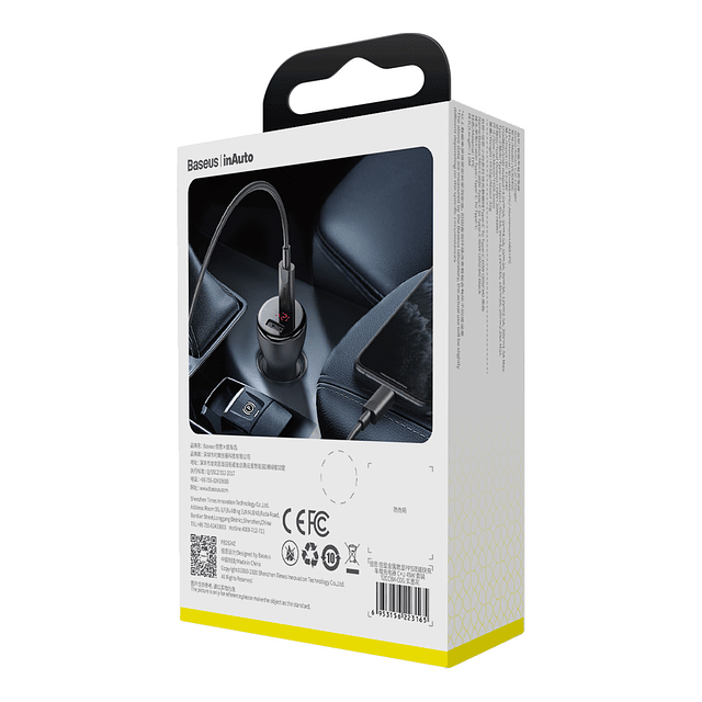 Cargador auto PPS Dual 45W + Cable Tipo C a Tipo C 1m