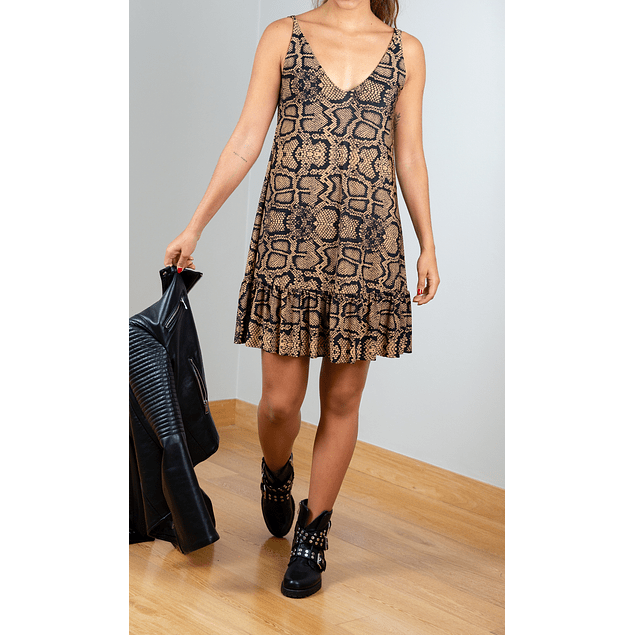 MINI ANIMAL PRINT DRESS (Brown)