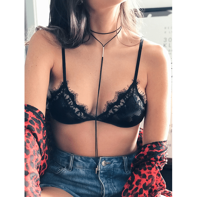 LACE BRALETTE BLACK SEQUINS