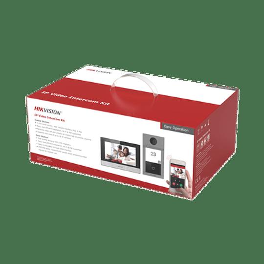 Kit de Videoportero Hikvision, IP, Wi-Fi, Frente de calle IK08 & IP65, Soporta PoE, Compatible con HikConnect, Modelo:  DS-KIS604-P(B) - Image 1