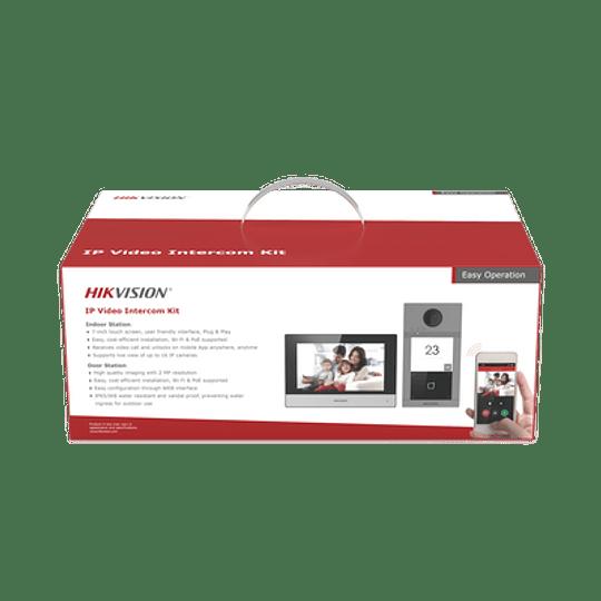 Kit de Videoportero Hikvision, IP, Wi-Fi, Frente de calle IK08 & IP65, Soporta PoE, Compatible con HikConnect, Modelo:  DS-KIS604-P(B) - Image 2