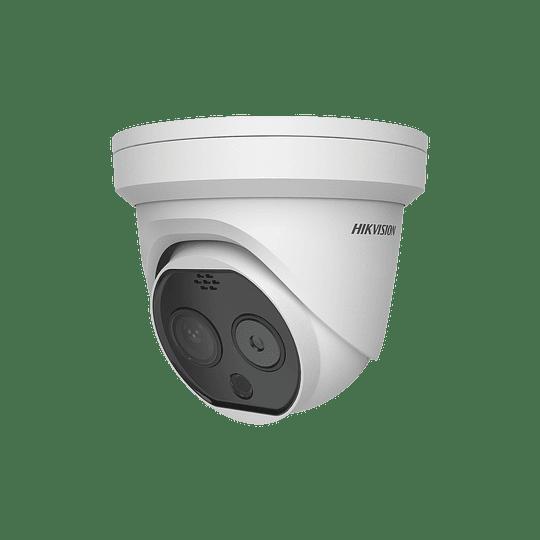 Camara Turret IP, Térmica 3.1 mm (320X 240), Óptico 4 mm, 15 mts IR, IP66, PoE, Termométrica, Detección de Temperatura -20ºC a 50ºC. Modelo: DS-2TD1217B-3/PA - Image 1