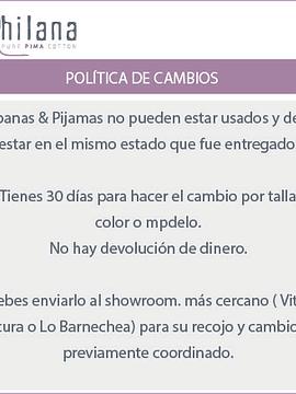 Guia de tallas y políticas de cambio.