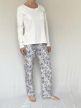 Pijama mujer polera pima y pantalón estampado