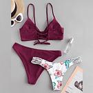 Bikini Tres piezas burdeo Floral