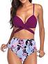 Bikini tiro alto  Purple floral