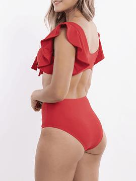 Bikini tiro Alto Nudo vuelos Rojo