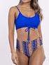 Bikini tiro alto Azul estampado