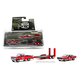 1:64 Racing Hitch & Tow Series 2 - 1967 Ford F-100 and 1967 Mercury cougar Dan Gurney #98 on Flatbed Trailer