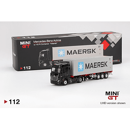 """1:64 Mercedes-Benz Actros with 40' Container """"Maersk"""" (Black)(Full Diecast Metal)"""