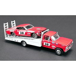 1/64 ALLAN MOFFAT RACING - FORD F-350 RAMP TRUCK WITH #38 1969 TRANS AM MUSTANG -coca cola
