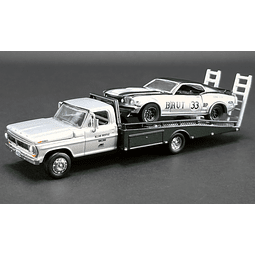 1/64 ALLAN MOFFAT - BRUT - FORD F-350 RAMP TRUCK WITH #33 1969 TRANS AM MUSTANG - ACME EXCLUSIVE