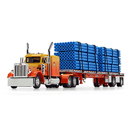 """1/64 scale Peterbilt® Model 359 with 63"""" Flattop Sleeper and Wilson® Flatbed Trailer and Pipes"""