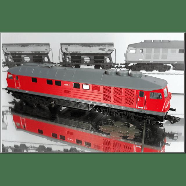 Set de locomotora diesel y vagones para cal ho 1/87