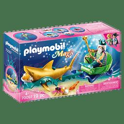 Playmobil Rey Del Mar Con Carruaje De Tiburón