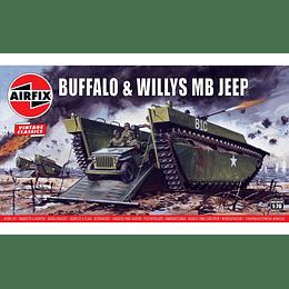Modelo para armar Buffalo (Lvt-4) & Willys Jeep Escala 1/76