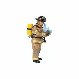 Papo Yellow Us Fireman With Baby