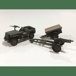 Carro Armado Y Pintado Jeep SAS + Remolque + cañon 1/72