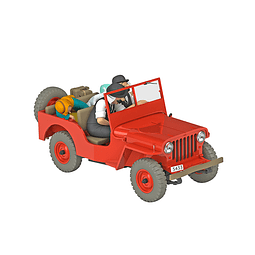 Carro Colección  1/24Th #06- Red Jeep Willys Tintin con urna
