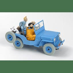 Carro Colección  1/24Th #04 - Blue Willys Cj2A  Tintin con urna