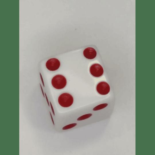 Juego de Mesa Dados Blancos Con Pepitas Rojas