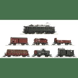 Tren Eléctrico 61492 - 7 piece set: Electric locomotive E 52 22 with goods train, DRG - HO