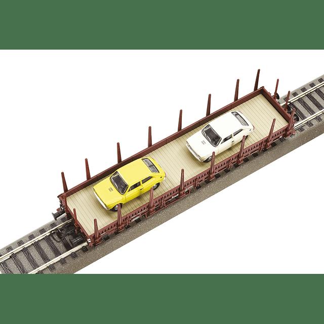 Set de 2 Vagones plataforma con autos Fiat 1/87 H0