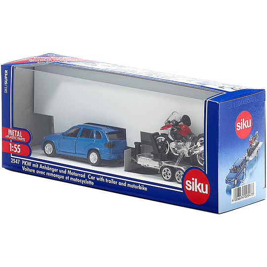 Car With Trailer And Motorbike 1/55