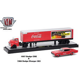 M2 1957 Dodge COE and 1966 Dodge Charger 383 Coke Red, Auto Haulers Coca-Cola Release 1/64