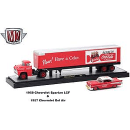 M2 1958 Chevrolet Spartan LCF and 1957 Chevrolet Bel Air Coke Red, Auto Haulers Coca-Cola Release 1/64