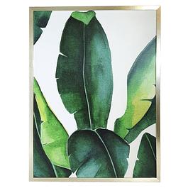Cuadro Tela 60 x 80 Botánico Hoja Grande