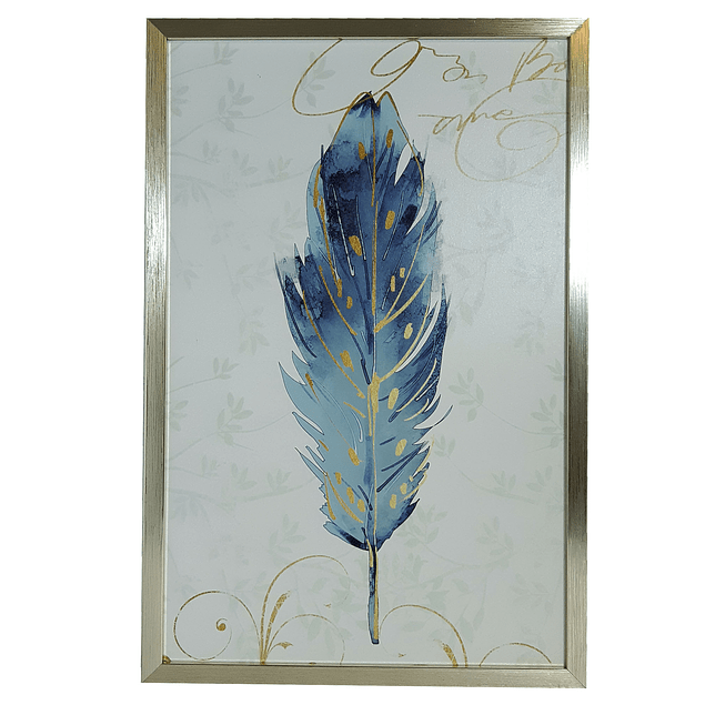 Cuadro Tela 40 X 60 Pluma Azul