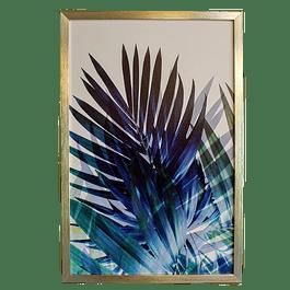 Cuadro Tela 40 x 60 Botánico Azul