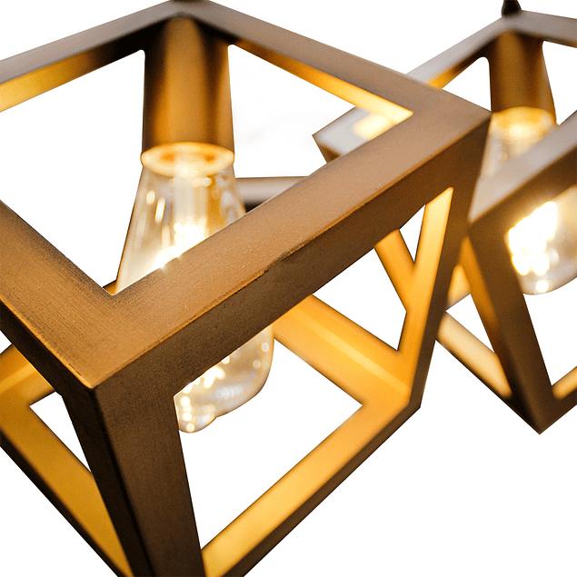 Lámpara de Techo 3 cubos Vintage Gold