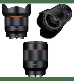 Kit de tres lentes Rokinon AF de 14 mm, 35 mm y 50 mm para Sony FE