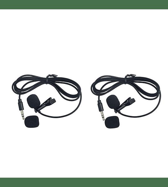 Microfono Ckmova Lavalier Omni Inalambrico UHF Kit para 2 Personas Ultracompacto 2 Transmisores 1 Receptor
