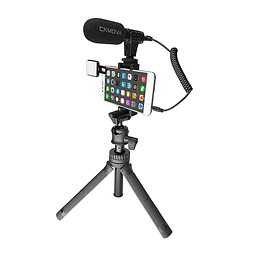 Minitripode Ckmova Extendible con Microfono y LED para Streaming Video y Podcast Smartphone