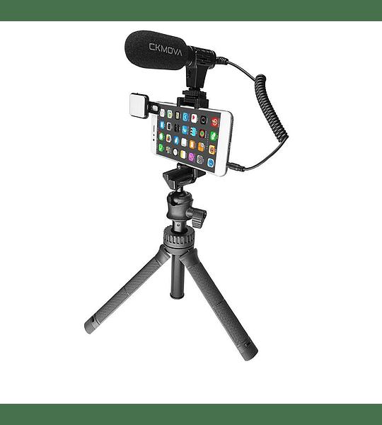 Minitripode Ckmova Extendible con Microfono y LED para Streaming Video y Podcast Smartphone