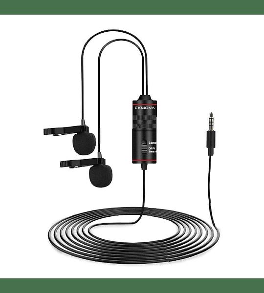 Microfono Doble Ckmova Lavalier Omni de Condensador para Smartphone y Camara