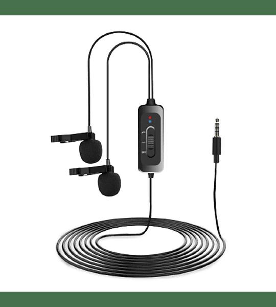 Microfono Doble Ckmova Lavalier Omni de Condensador para Smartphone y Camara con Reductor de Ruido