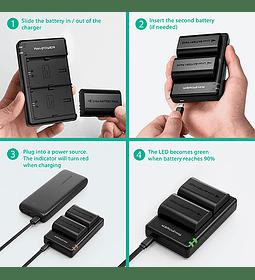Batería Reemplazo Canon LP-E6 Kit 2x con un cargador USB dual