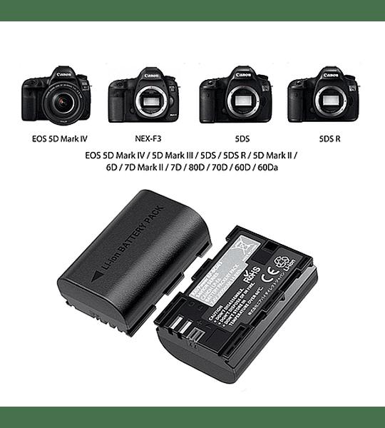 Batería RAVpower Reemplazo Canon LP-E6 Kit 2x con un cargador USB dual