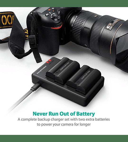 Batería Reemplazo Nikon EN-EL15 Kit 2x con Cargador USB