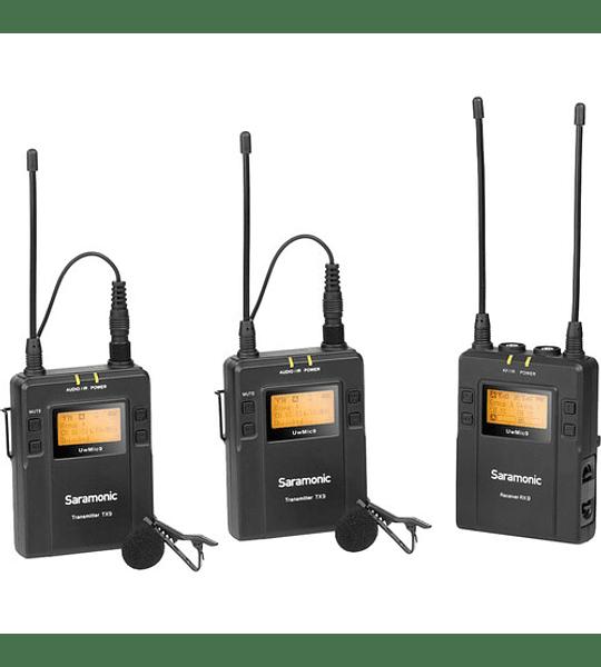 Saramonic UwMic9 -2 Sistema de micrófono inalámbrico Omni Lavalier de montaje en cámara (514 a 596 MHz) para dos personas
