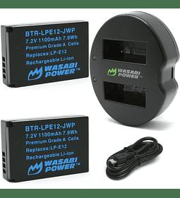 Kit 2 Batería + Cargador Wasabi Lp-e12 Canon