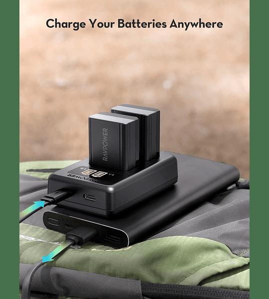 Baterías de litio Ravpower 2-NP-FW50 con un cargador USB dual