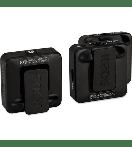 Sistema/grabadora inalámbrica digital compacta Rode Wireless GO II para 2 personas (2,4 GHz, negro)
